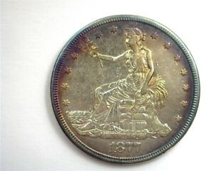 1877-S SILVER TRADE DOLLAR ABOUT UNCIRCULATED NICE TONING!!