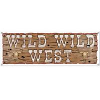 Wild Wild West All-Weather Sign Banner Western Ranch Horse Theme Party Decor