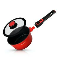 Non Stick Sauce Pan with Glass Lid Removable Handle 20cm Aluminium Induction Saf