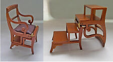 Dolls house Miniature Walnut Metamorphic Library Step Ladder  Chair
