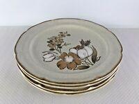 4 Vintage Hearthside Baroque AUTUMN FAIR Stoneware Floral DINNER Plates 10 .75''