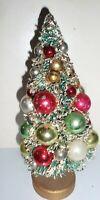 "VINTAGE GREEN GLITTER BOTTLE BRUSH CHRISTMAS TREE MERCURY GLASS ORNAMENTS 9"""