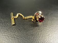 Vintage Ruby Red Glass Yellow Gold Plated Tie Tac or Lapel Pin