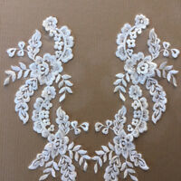 1 Pair Applique Lace Trim Embroidery Sewing Motif DIY Wedding Bridal Crafts NE8X