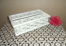 PRETTY VINTAGE CHIC WHITE WICKER TISSUE STORAGE BOX DISPLAY, BATHROOM, VANITY