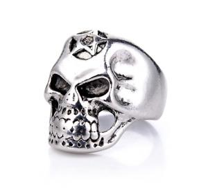 Knight Ring Titanium Head Dead Skull Star Salomon 666 Skull Biker Harley