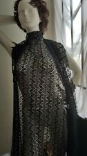 """Black silver knitted Embroidered  see through  Lace 2 ways Stretch Fabric 58"""""""