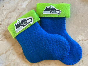 """Hand-Made Felt Hanging Ornament Seattle Seahawks 5"""" X 3"""" Cute  NEW!Made By G'ma!"""