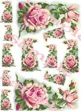 Shabby Roses Victorian Pink Corner Waterslide Decals