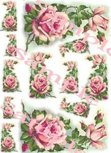 Shabby Roses Victorian Pink Corner Waterslide Decals