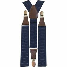 New Vintage Men's Braces Navy Blue Polka Dots Adjustable Wide Heavy Duty Clasps.