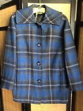 Vintage Womens Pendleton Blue Plaid Wool Long Jacket Bust 42 Excellent Condition