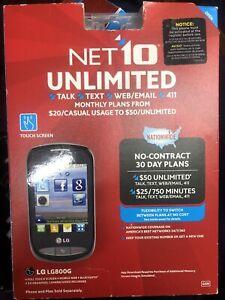 New Pre Paid Phone LG 800G - Black (Net10) Smartphone/Verizon