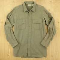 vtg usa made LL BEAN chamois flannel camp shirt LARGE faded distressed