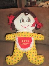 "Doll Tooth Fairy 9"" Girl Pocket Handmade Stuffed Yellow Cotton Brown Yarn Hair"