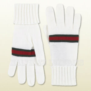 GUCCI GLOVES RIBBED CUFF GREEN RED GREEN WEB DETAIL WHITE WOOL sz L