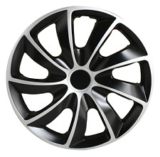 "SG 4 Piece Hubcaps, Wheel Cover, Wheel Trim, Black & Silver, 16"" (SG-5084-DP-16)"