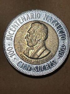 Ecuador 100 Sucres Current Circulated Bimetallic Coin Dated 1995