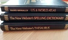 3 Bk New Webster's Desk Reference Hardcover Thesaurus Atlas Spelling Dictionary