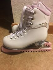 Soft Skate by Jackson Girls White Pink Ice Skates Size 2 Mark I Blades w/guards