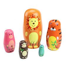 5Pc Cute Russian Doll Wooden Animal Nesting Dolls Matryoshka Babushka Paint Gift