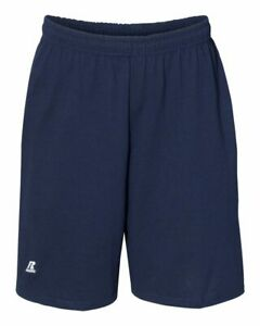 """Russell Athletic Essential Jersey Cotton 10"""" Shorts Gym Shorts with Pockets"""