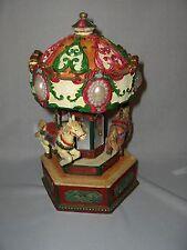 Ornate 3 Carousel Horses Music Box Mirrors Sleigh Ride Rotates  NICE