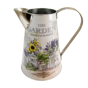 "Large Metal Jug Vase Cream Lavender Sunflowers Herbs Design ""Garden"" 22cm"