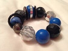 Beaded elastic Bracelet with blue, silver, black and clear beads (New Look)