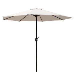 9FT Table Umbrella Outdoor Garden Patio Push Button Folding 8 Ribs Beige