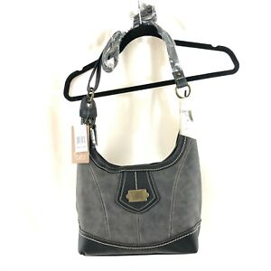 BOC Born Concepts Crossbody Bag Handbag Faux Leather Gray Black Power Bank