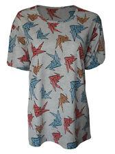 Origami birds print top shirt womens ladies oversized tshirt