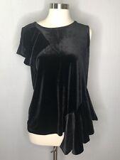 Halogen Women's Black Velvet One Shoulder Blouse top shirt M NWT