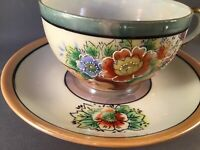 ANTIQUE TT TAKITO LUSTERWARE PORCELAIN CUP & SAUCER HAND-PAINTED MORIAGE JAPAN