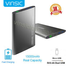 Vinsic USB LED Power Bank 15000mAh Mobile Portable Charger for Cell Phone Tablet
