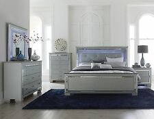 GLITZY 4 PC GRAY MIRRORED LED LIGHTS CALIFORNIA KING BED N/S DRESSER BEDROOM SET