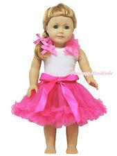 """Ruffle Bow White Pettitop Hot Pink Pettiskirt Tutu 18"""" American Doll Outfit Set"""