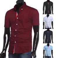 Vintage Style Men's Stylish Fit Short Sleeve Shirt Casual Dress Shirts T-Shirts