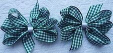 "2 GREEN AND WHITE GINGHAM 3"" INCH RIBBON HAIR BOWS ALLIGATOR CLIP SET NEW"