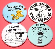SET OF 4 THE CURE CHARLIE BROWN SNOOPY PEANUTS INSPIRED BUTTON PIN BADGE