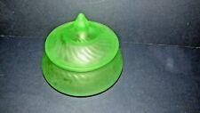 Vintage Frosted Green Swirl Powder Jar