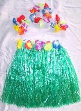 KIDS SIZE HAWAIIAN HULA GREEN SKIRT PARTY SET new childrens luau bracelet hat