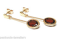 9ct Gold Garnet Long Drop earrings Made in UK Gift Boxed Christmas Gift