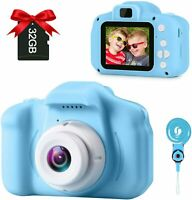 Children Camera Digital Kids Cameras 2 Inch IPS Screen Rechargeable Video (Blue)