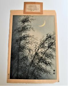 Vintage Japanese Woodblock Prints Bamboos Crescent Moon Eiichi Kotozuka Uchida