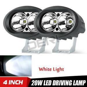 2x 4in LED White Pod Work Light Bar Spot Driving Fog Offroad ATV UTV Motorcycle