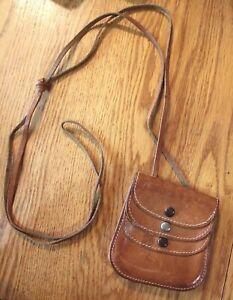 Leather pouch Vintage coin purse 3 clasps Mini shoulder messenger cross body