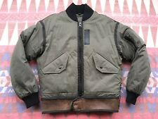 Coach Military Green Rip Repair MA-1 Down Jacket Leather Shearling Men's XS $695