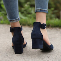 Summer Party  Sandal  Women Low Block Heel Pointed Toe Shoes Ankle Strap