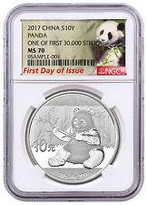 2017 China Silver Panda NGC MS70 FDI Exclusive First 30k Struck Label SKU44885